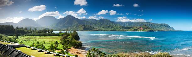 Hanalei bay and Emerald Mountains Pano, Kauai, Hawaii. stock photo