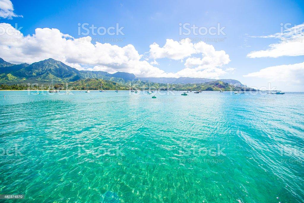 Hanalei Bay, Kauai, Hawaii stock photo