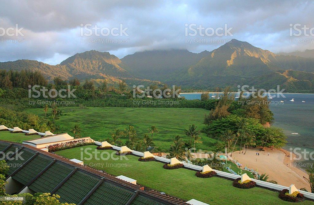 Hanalei Bay Kauai resort hotel and beach sunset from above stock photo