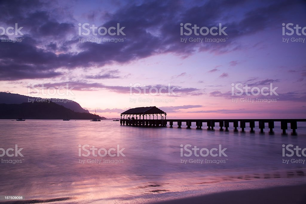 Hanalei Bay Pier stock photo