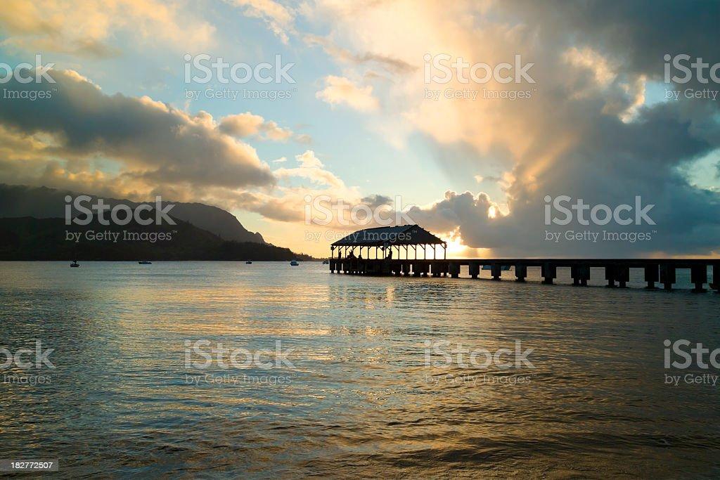 Hanalei Bay Sunset in Hawaii stock photo