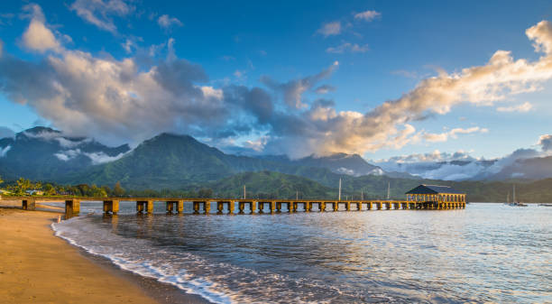 Hanalei Beach at Hanalei Bay. Kauai, Hawaii stock photo