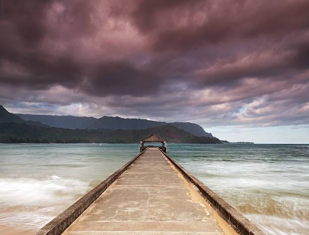 Hanalei pier morning on the island of Kauai, Hawaii. stock photo