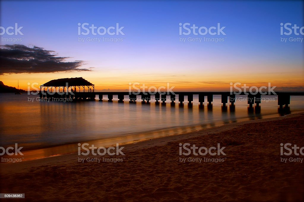 Hanalei Pier stock photo