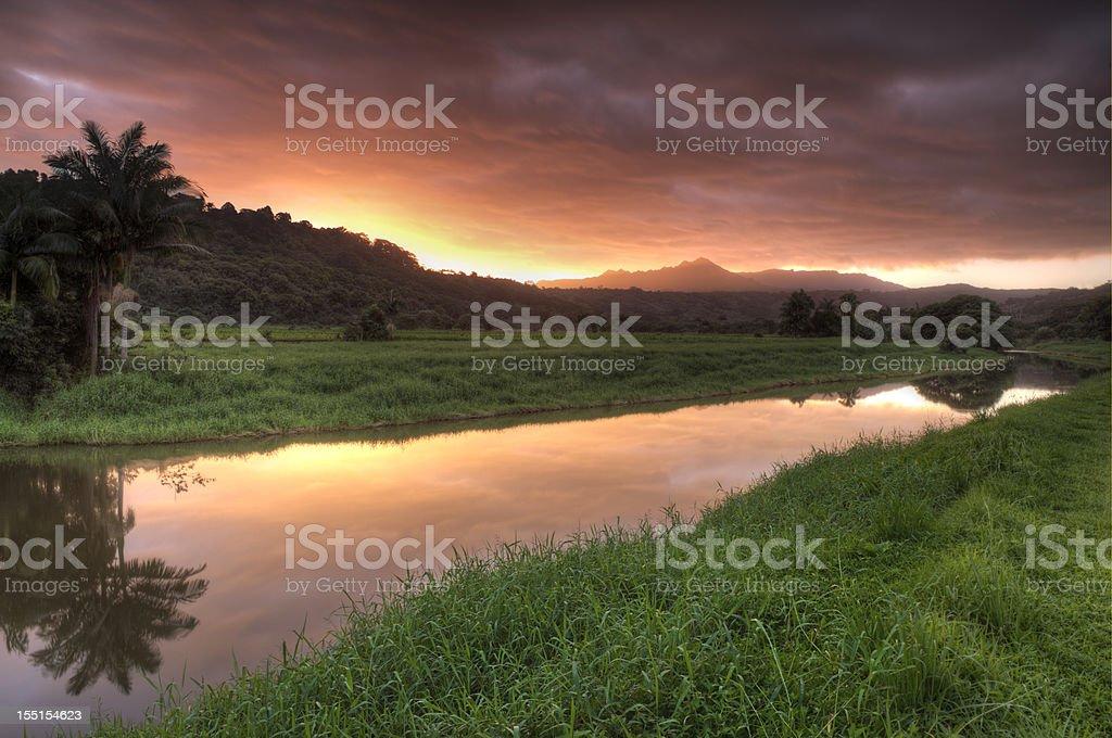 Hanalei river sunrise, island of Kauai, Hawaii. stock photo
