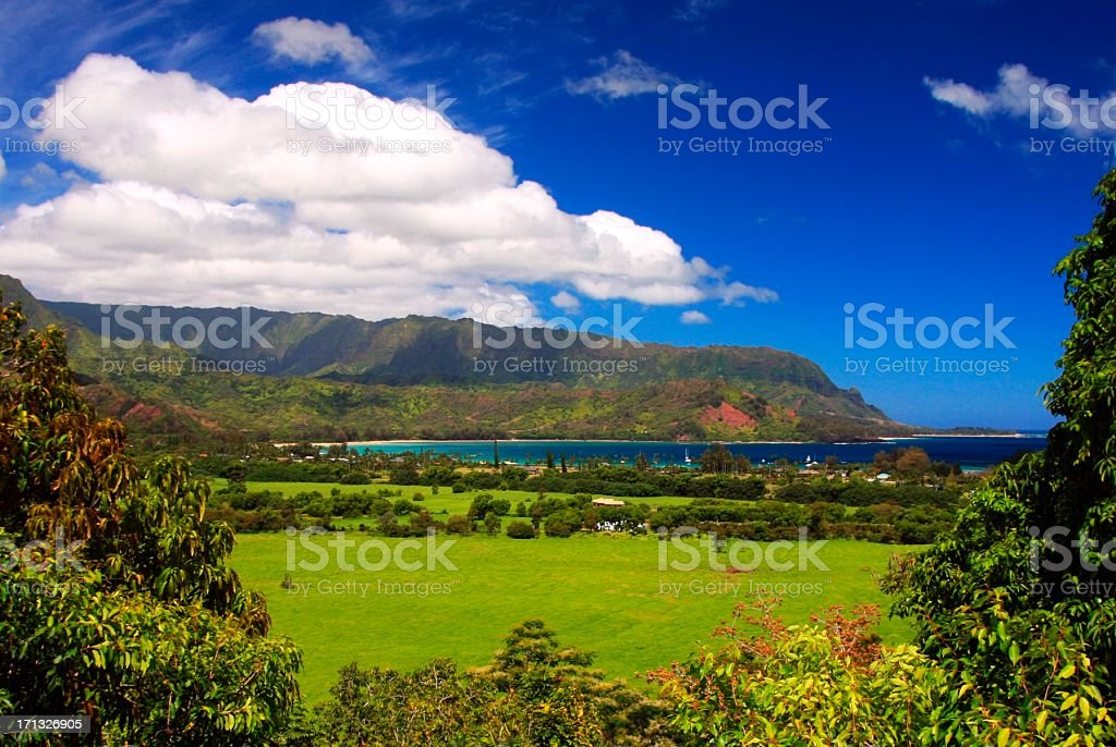 Hanalei valley Pacific Ocean scenic Kauai Hawaii stock photo