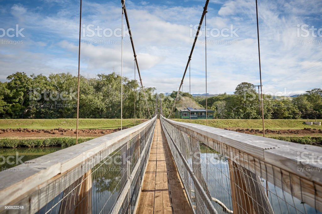 Hanapepe Swinging Bridge In Kauai Hawaii Stock Photo