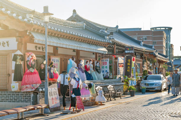 Hanboknam (Korean traditional dress) rental shop in Jeonju Hanok Village, popular tourist attraction designated as an International Slow City in 2010 stock photo