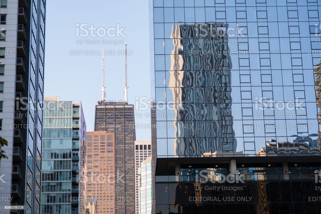 Hancock building in the distance in Chicago stock photo