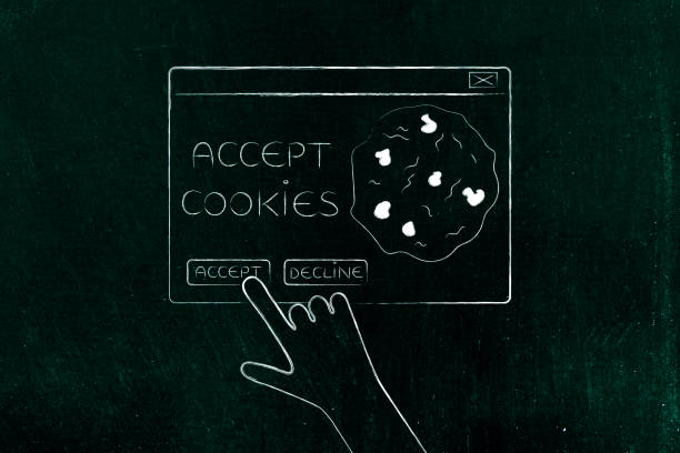 hand about to click on Accept Cookie pop-up message stock photo