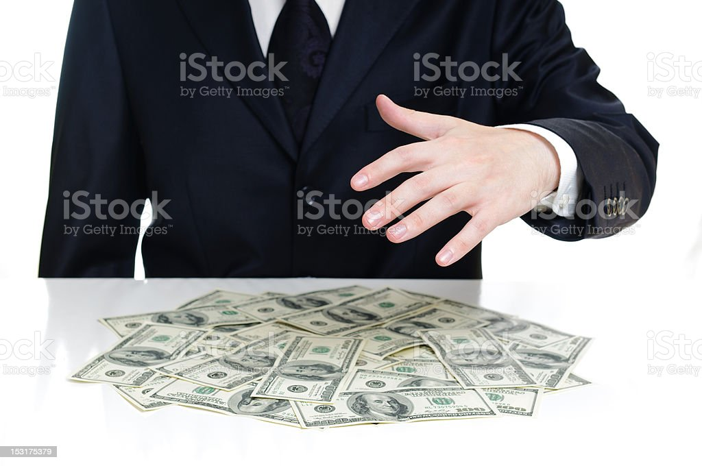 hand above the money royalty-free stock photo