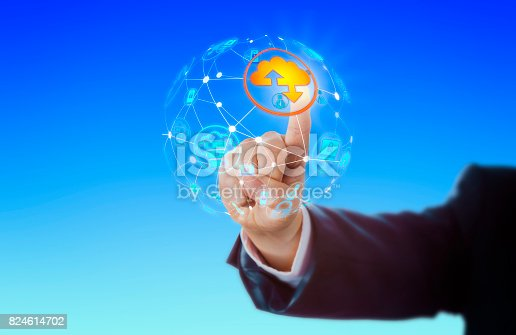 istock Hand Activating Cloud Icon In Global Network 824614702