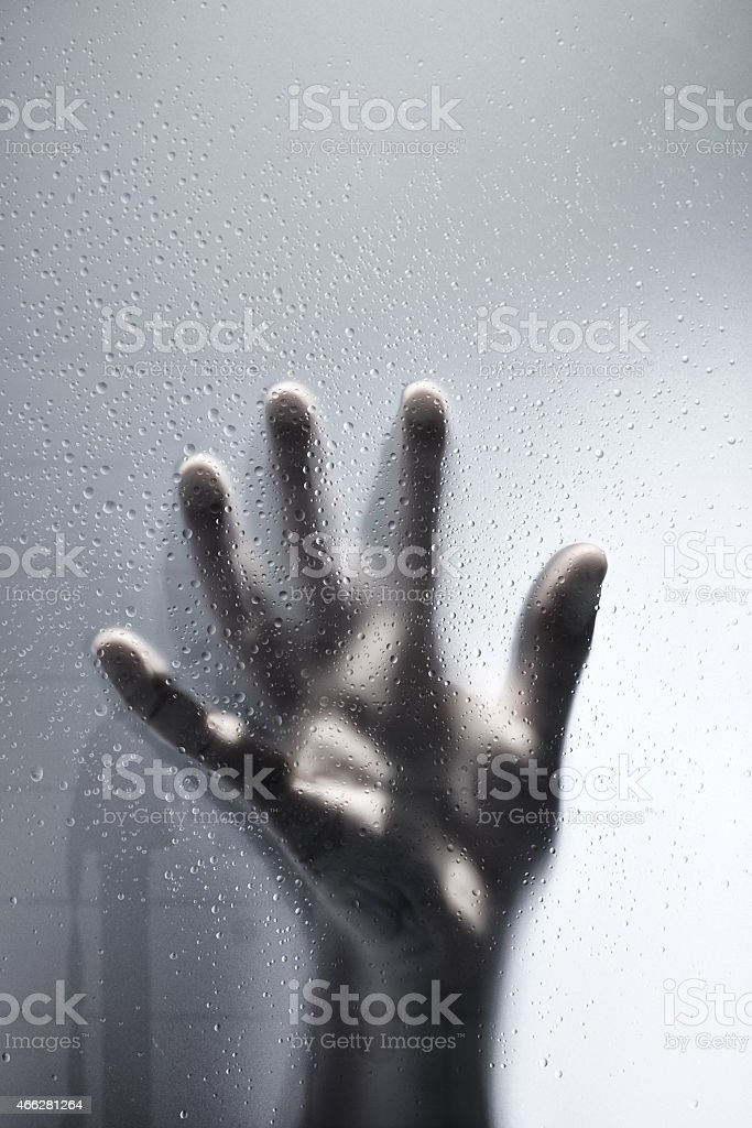 Hand Against The Shower Screen stock photo
