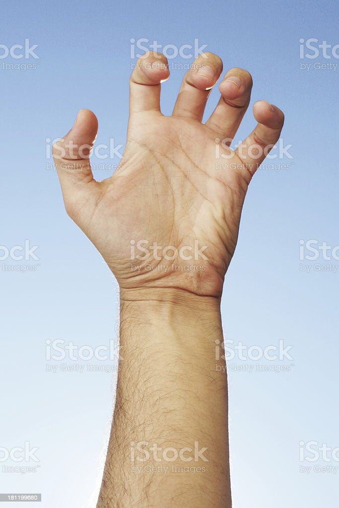 Hand against the sky. Scary. royalty-free stock photo