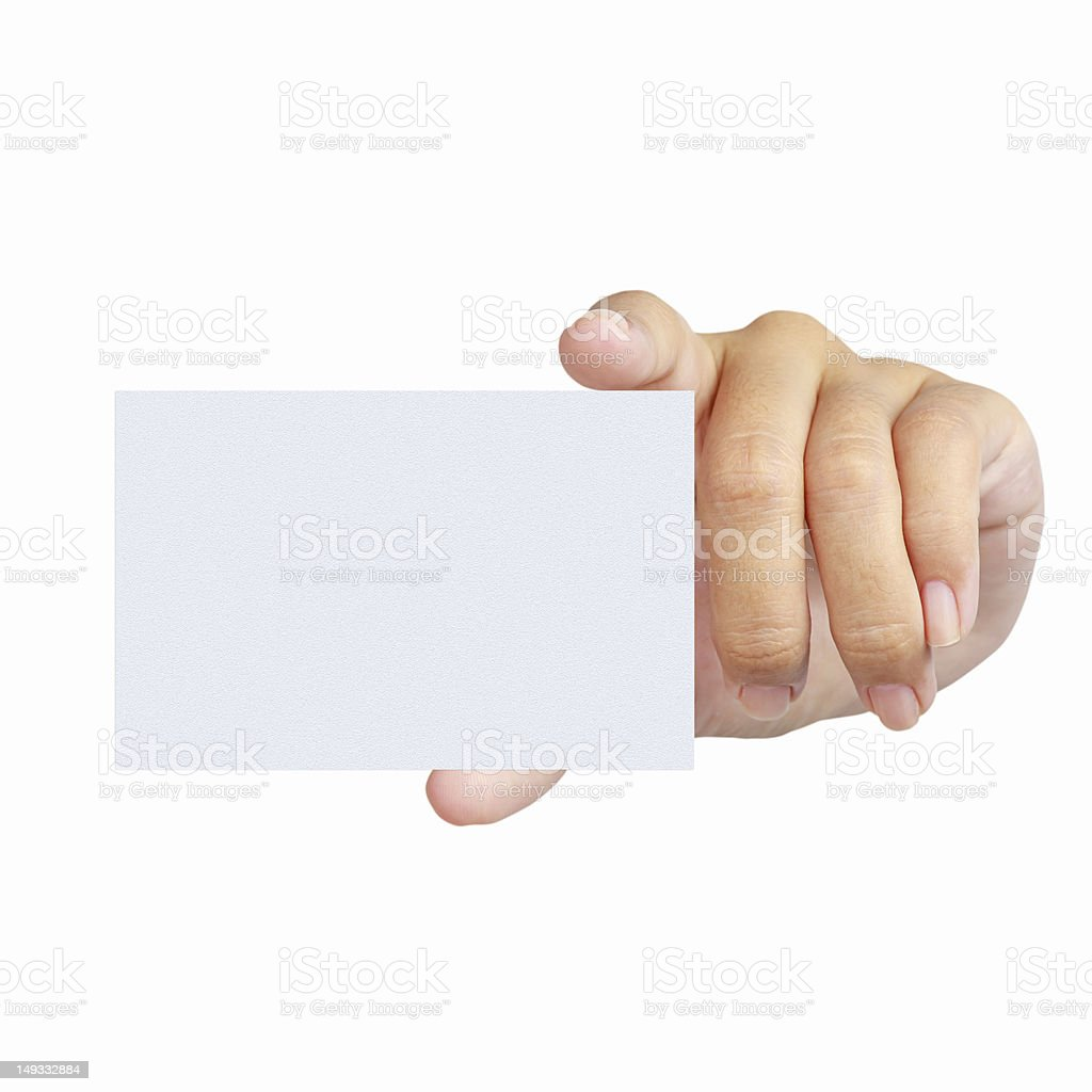 Hand and a card isolated on white royalty-free stock photo