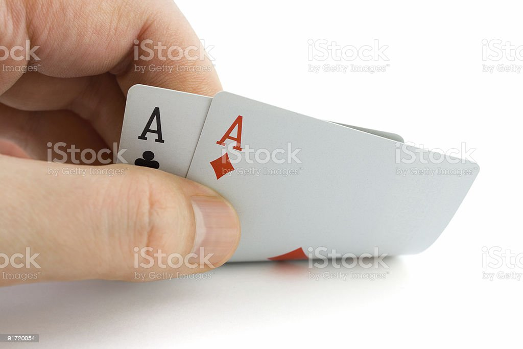 Hand and aces royalty-free stock photo