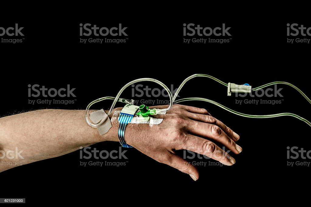 Hand and arm of patient with iv treatment. royalty-free stock photo