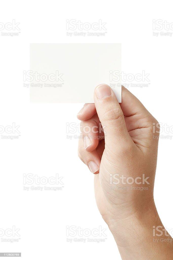 Hand und blank card – Foto
