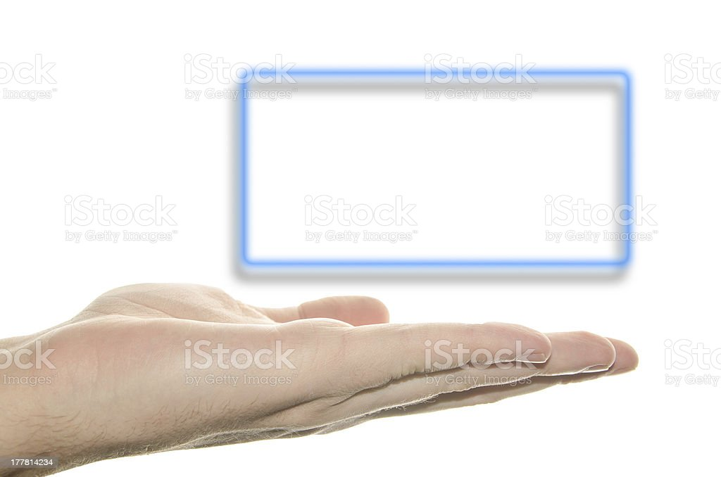 Hand and blue frame with shadow under royalty-free stock photo