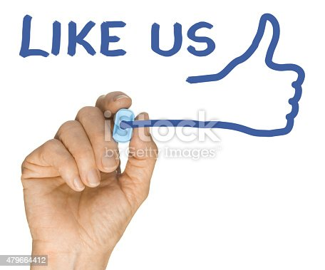 istock Hand and Blue Highlighter Pen writing Like Us Thumbs Up 479664412