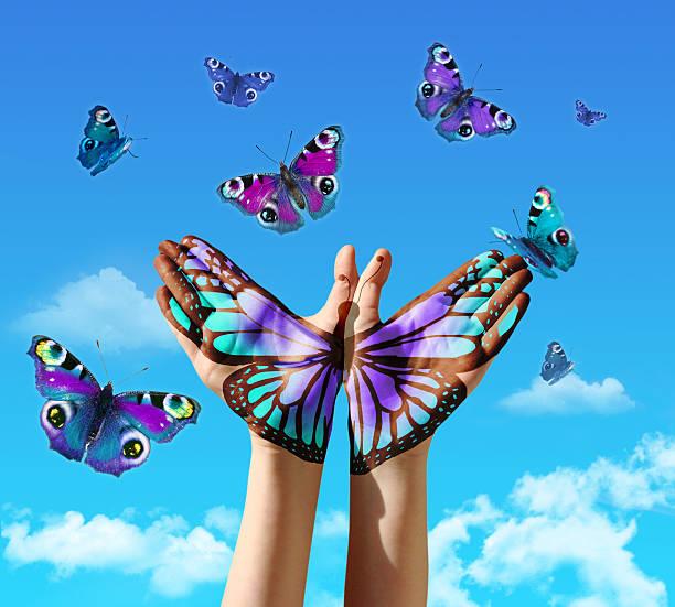 hand und butterflys - tattoo ideen stock-fotos und bilder