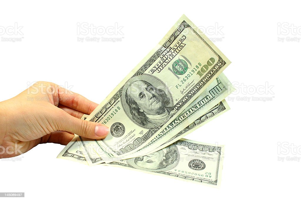 Hand and dollars royalty-free stock photo