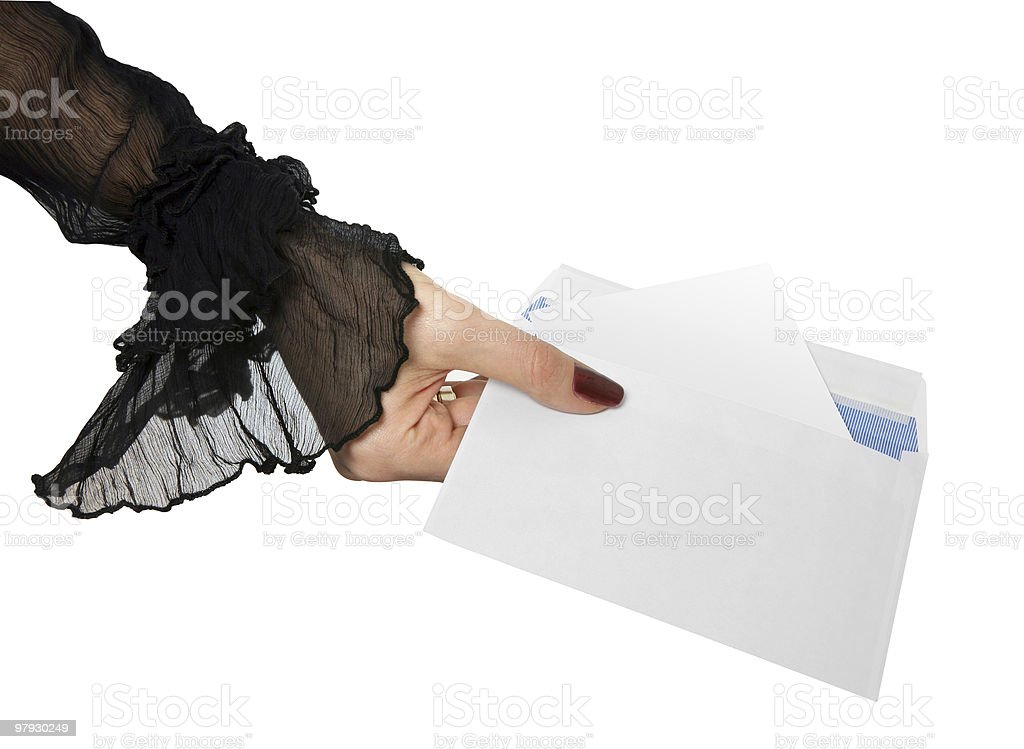 Hand and envelope royalty-free stock photo