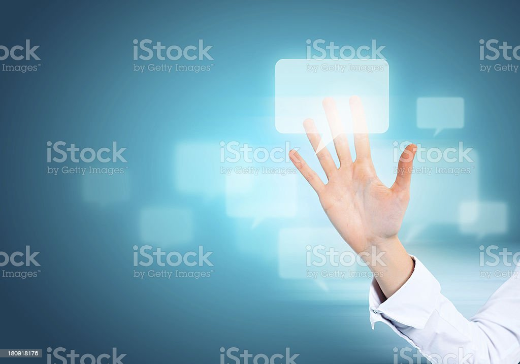 Hand and icons royalty-free stock photo