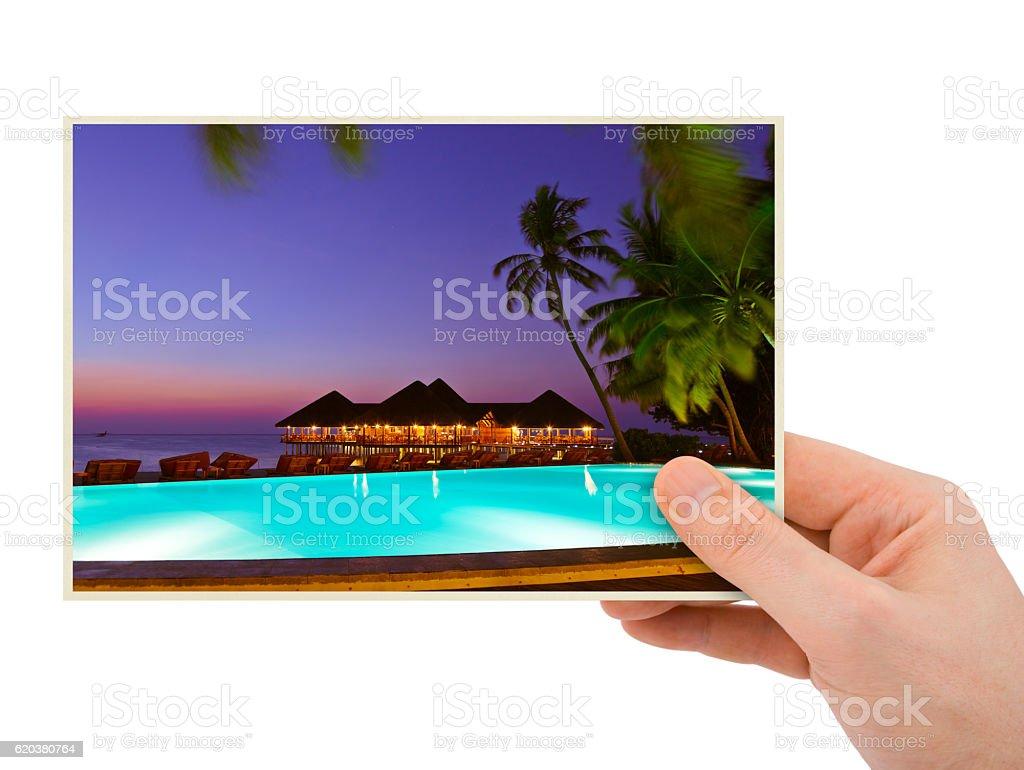 Hand and Maldives beach image (my photo) zbiór zdjęć royalty-free