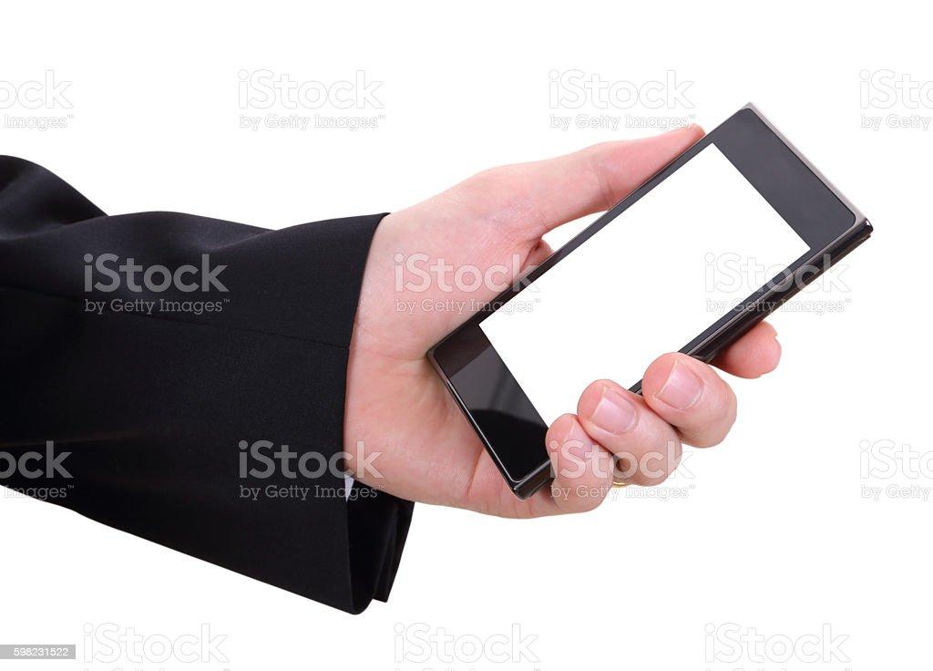 Mão e mobilephone  foto royalty-free