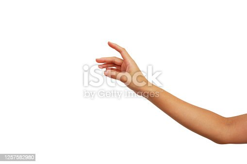 hand gesture of Asian woman is showing touch up isolated on white background