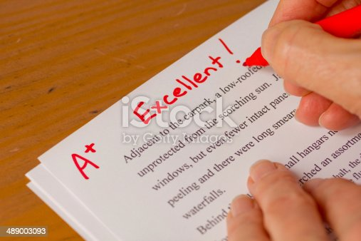 istock Hand and Red Pen Grading Papers with Excellent 489003093