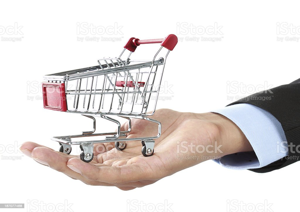 hand and shopping cart royalty-free stock photo