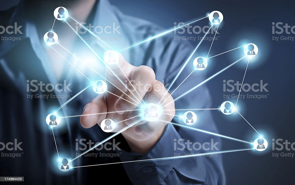 Hand and  social buttons royalty-free stock photo