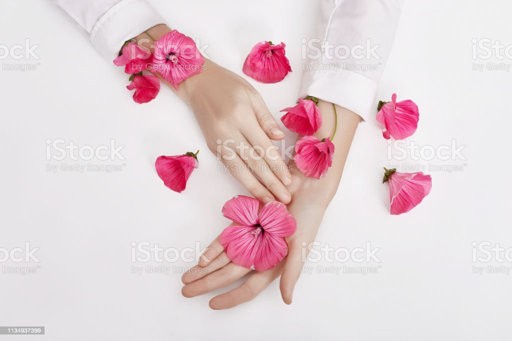 Hand and spring color flower are on table skincare. Nature Cosmetics...