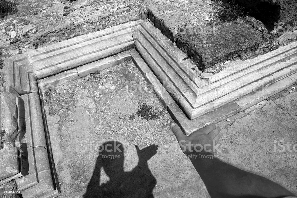 Hand and Stone Remainings royalty-free stock photo