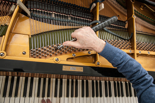 closeup of hand and tools of tuner working on grand piano