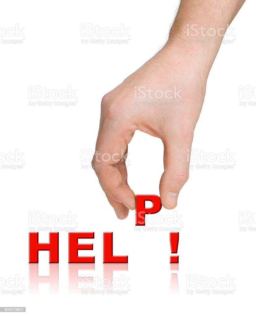 Mão e palavra ajuda foto de stock royalty-free