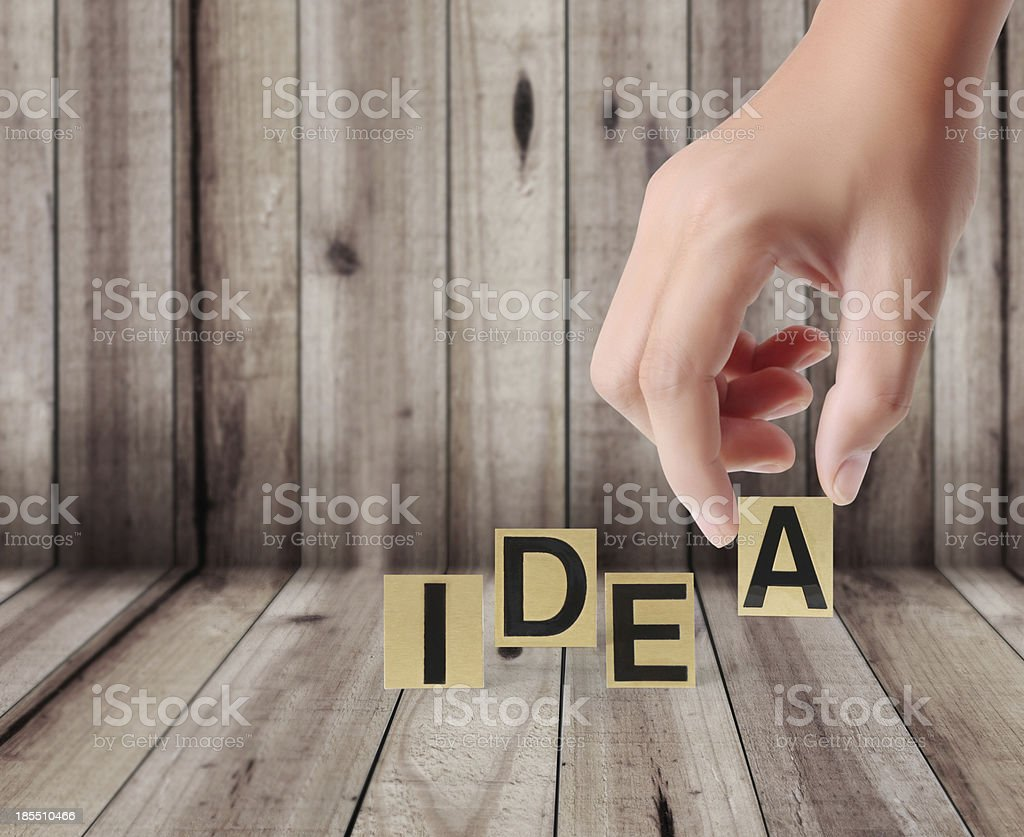 Hand and word idea royalty-free stock photo