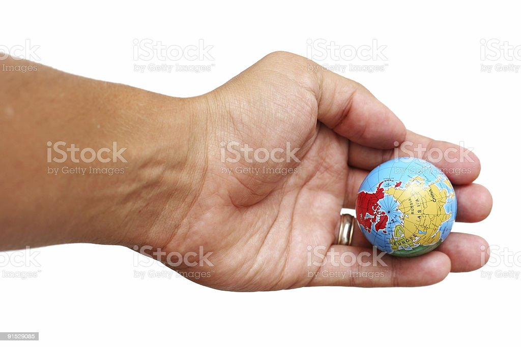 Hand and World royalty-free stock photo