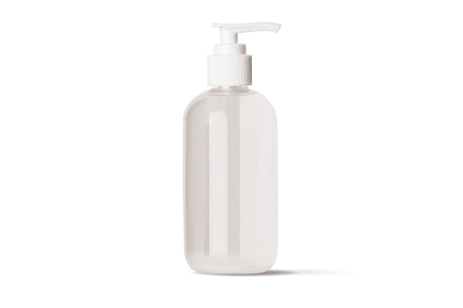 istock Hand antibacterial sanitizer dispenser pump. Cosmetic bottle with dispenser liquid container for gel, lotion, bath foam 3d illustration realistic mockup isolated on white background. Wash your hands 1219410849