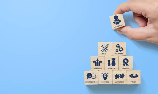 hand het schikken van houten blok stapelende piramide met de zaken van de pictogram leider op blauwe achtergrond. belangrijke succesfactoren voor leiderschaps elementen concept - zelf ontwikkeling stockfoto's en -beelden