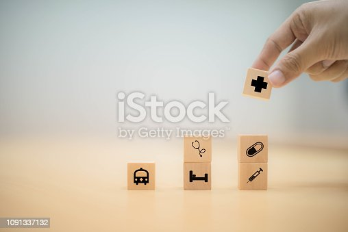 1029077176istockphoto Hand arranging wood block stacking with icon healthcare medical, health concept 1091337132