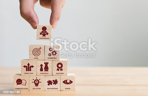 Hand arranging wood block stacking with icon leader business. Key success factors for leadership elements concept