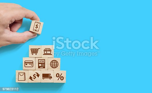 istock Hand arranging wood block stacking with icon online transaction, payment internet shopping. Finance technology (FINTECH) concept 979623112