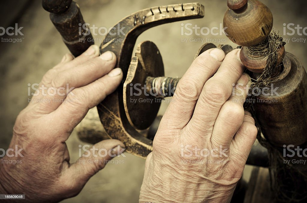 hand at distaff royalty-free stock photo