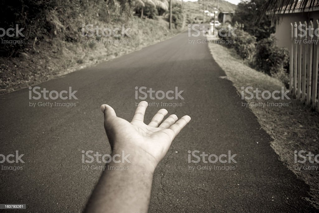 hand begging in the streets royalty-free stock photo