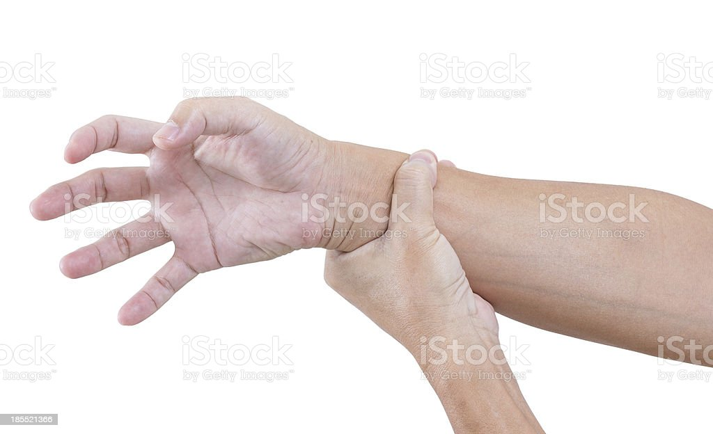Hand bent isolated on white background, with clipping path stock photo