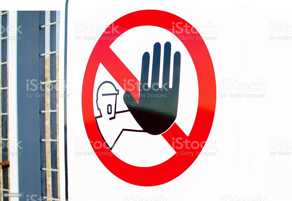 Hand blocking sign stop.Sign stock photo