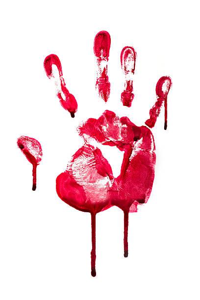 Hand blood mark stock photo